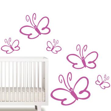 Wallsticker til pigeværelse - Pige wallsticker - Sommerfugl wallsticker - Den størrelse og farve, du ønsker - Wallsticker med sommerfugl