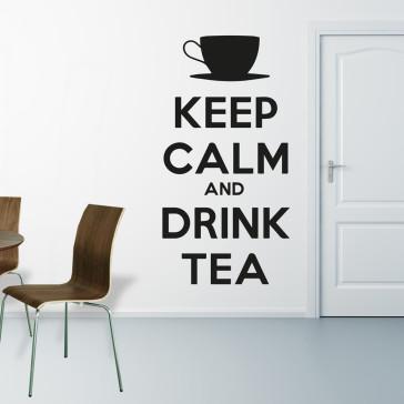 Keep calm and drink tea, Wallstickers til køkken - Wallsticker til stue - Moderne wallsticker - Wallsticker i den størrelse, du ønsker - Folie wallsticker