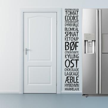 Mad wallsticker, Wallsticker til dit køkken - Køkken wallsticker - Mad wallsticker - Wallsticker med fødevarer - Folietekst til køkkenet