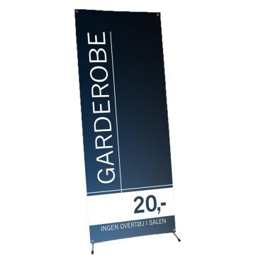 X-banner, banner på stativ, banner med holder, banner med fod, Banner til messe - Banner til udstilling - Banner til event - Messeudstyr - Få dit budskab i øjenhøjde - Reklame display - Design din egen banner - Bliv synlig!