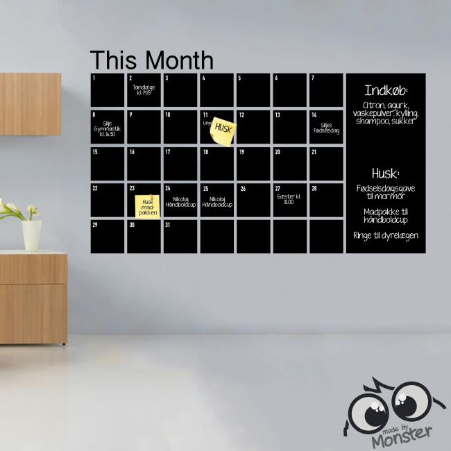 Fasjonable Kalender-wallsticker i tavlefolie eller whiteboardfolie GN-49