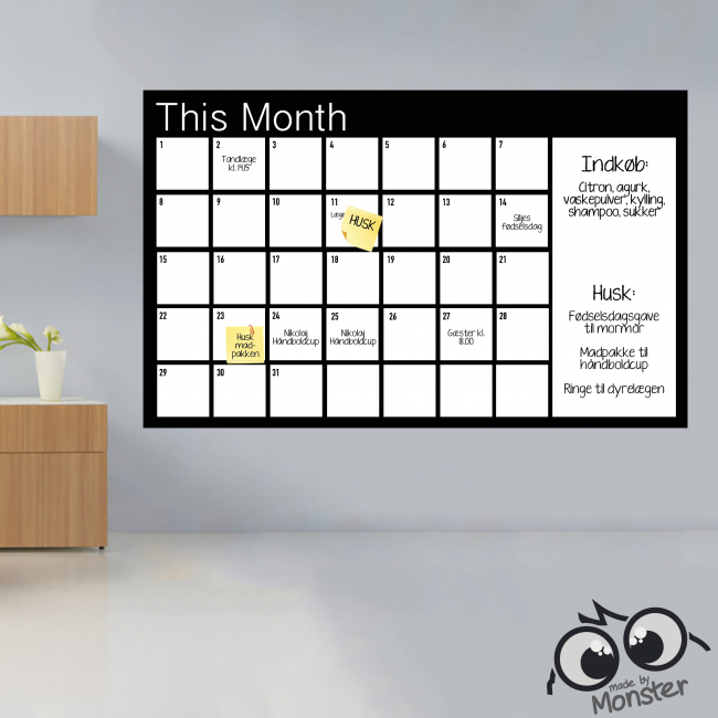 Ungdommelig Kalender-wallsticker i tavlefolie eller whiteboardfolie VG-55