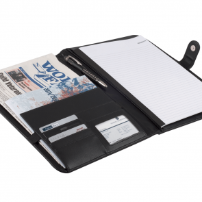 Dokumentmappe med blok og stor lomme