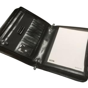 Dokumentmappe i skind med bærehåndtag