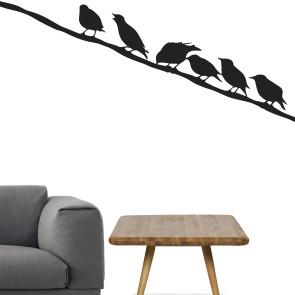 Fugle på el, fugle på wire, Wallsticker med fugle på snor - Wallsticker til stuen - Fugle på en snor - Wallsticker i bedste kvalitet og til den laveste pris