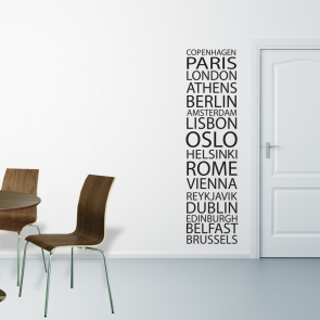 copenhagen, paris, london, hovedstæder wallsticker,