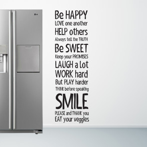 Be happy, Wallsticker til dit køkken - Køkken wallsticker - Wallsticker med tekst - Be Happy Wallsticker - Folietekst til køkken
