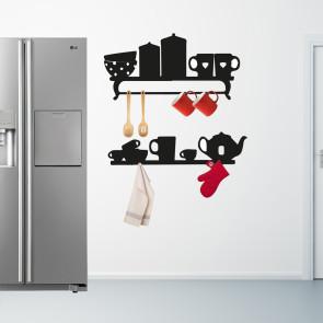 Køkken wallsticker - Wallsticker til køkken - wallsticker til knager - Humoristisk wallsticker - Knagerække til køkken