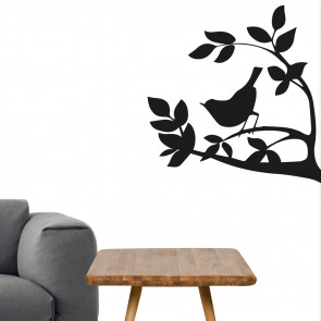 Wallsticker med fugl, grene og blade - Klassiske wallsticker - Wallsticker til entre - Wallsticker til stue - Wallsticker til dagligstue