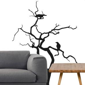 Wallsticker med fugle og grene - Moderne wallsticker - Rå wallsticker - Wallsticker til stue