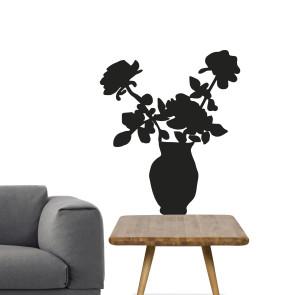Blomster wallsticker, Wallsticker vase - humoristisk wallsticker - Wallsticker til stuen - Blomster i vase - Vægdekoration til din stue