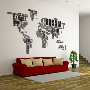 Verdenskort wallsticker, verden wallsticker