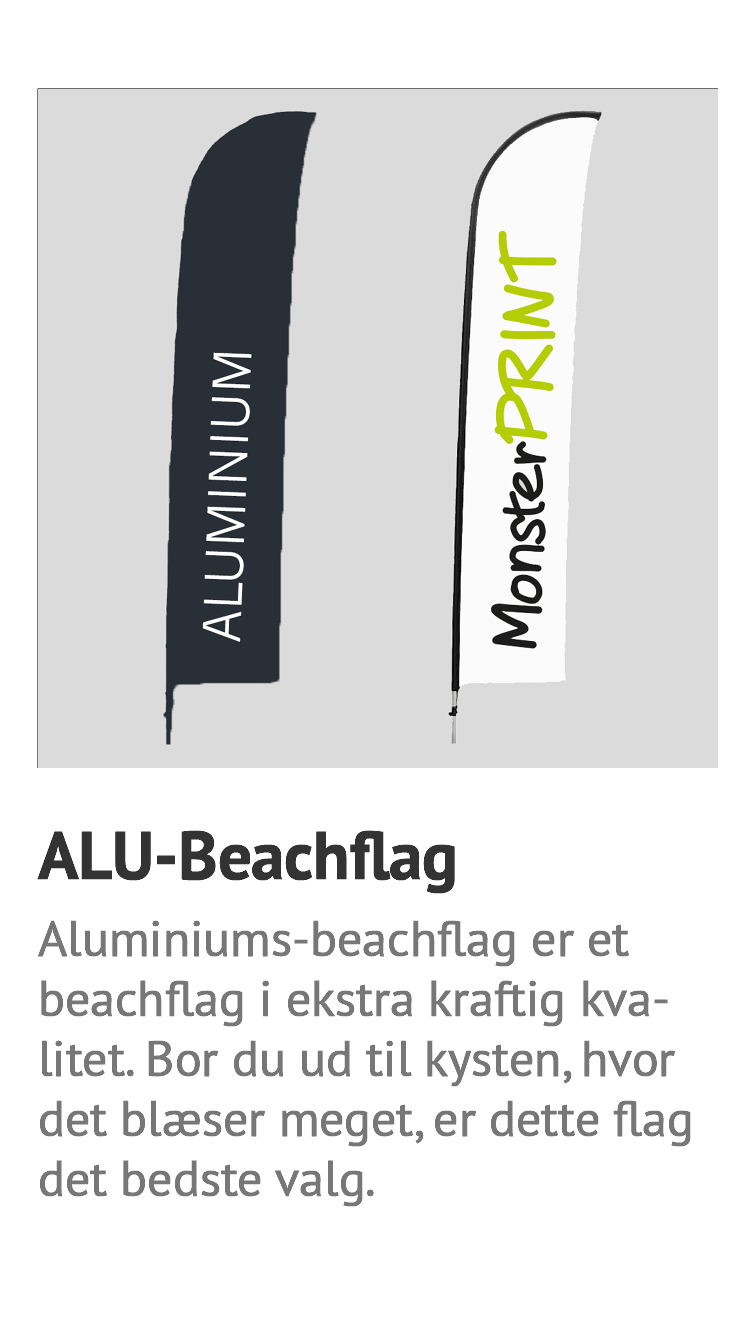 Alu-beachflag, beachflag i ekstra kraftig kvalitet. stormsikker