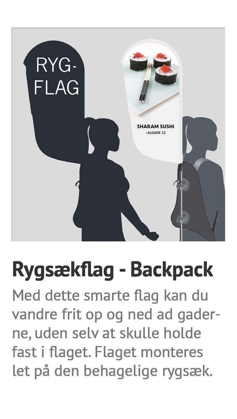 Rygsækflag, backpack, flag til ryg, banner til rygsæk, banner til ryg