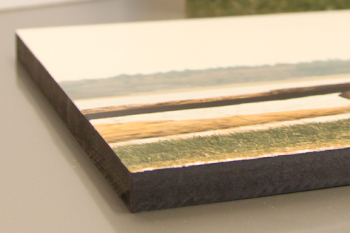Her ses en træplade med fotoprint. Fantastisk flot resultat i høj kvalitet