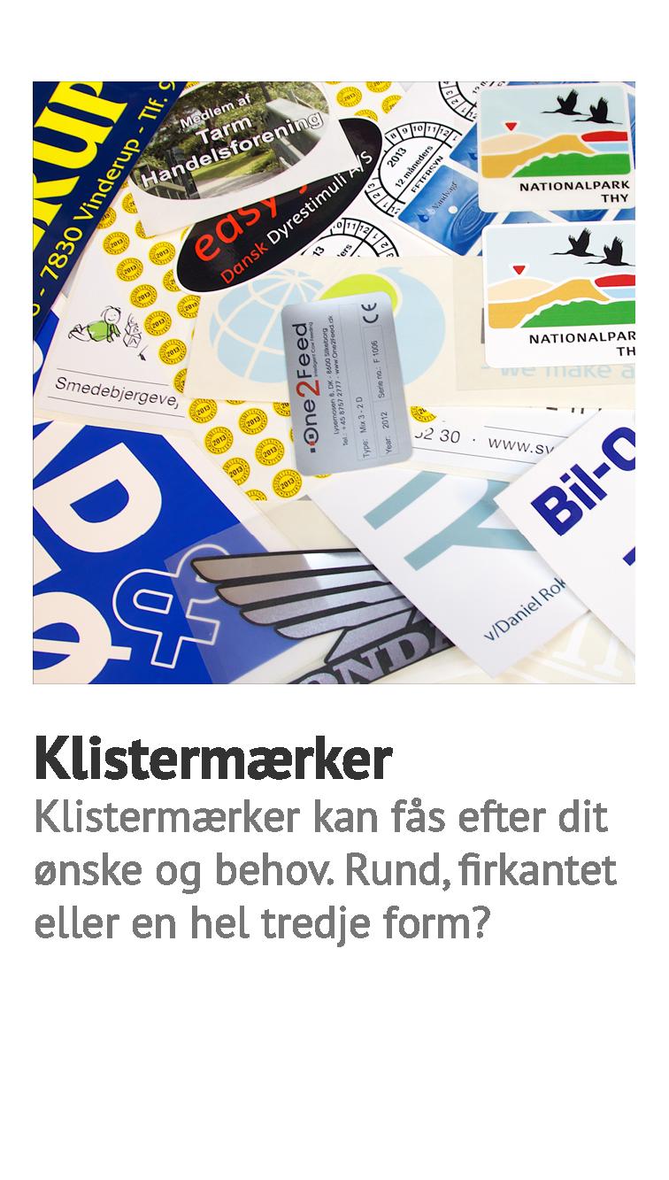 Klistermærker, selvklæbende mærker, stickers